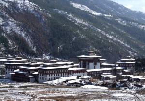 Snowfall in Thimphu, Bhutan