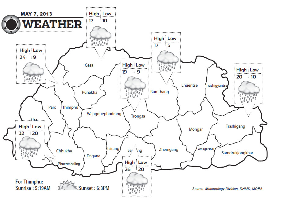 Bhutan Weather for May 07 2013
