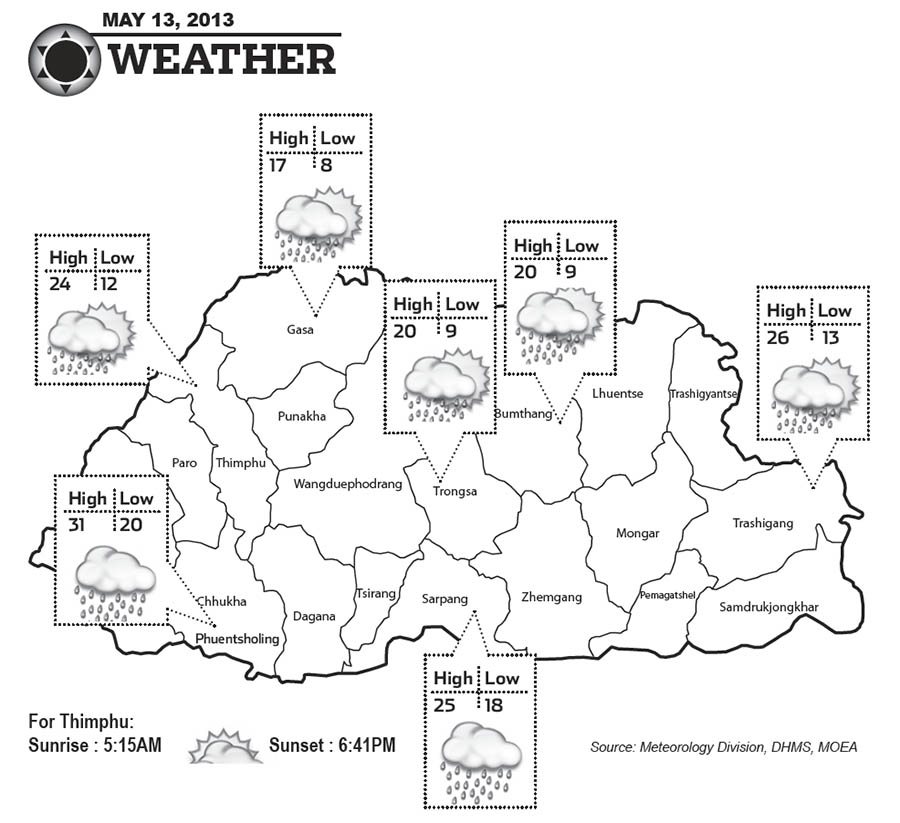 Bhutan Weather May 13 2013