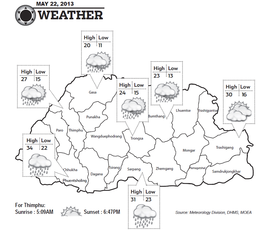 Bhutan Weather May 22 2013
