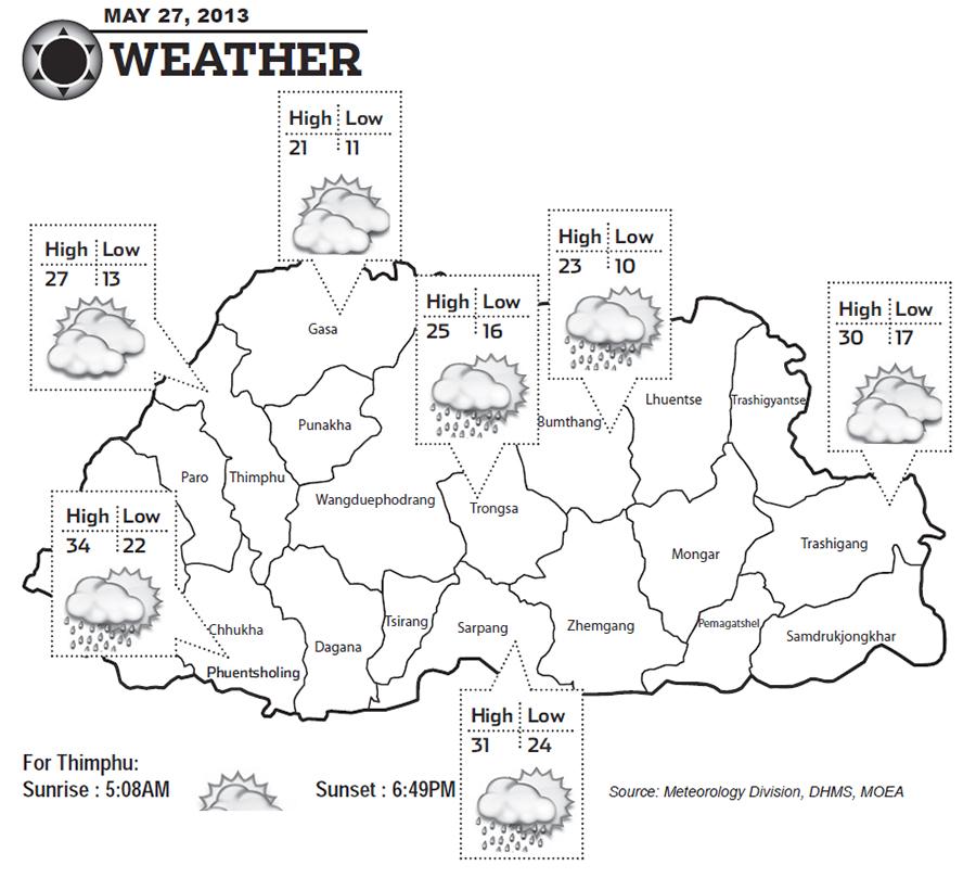 Bhutan Weather for May 27 2013