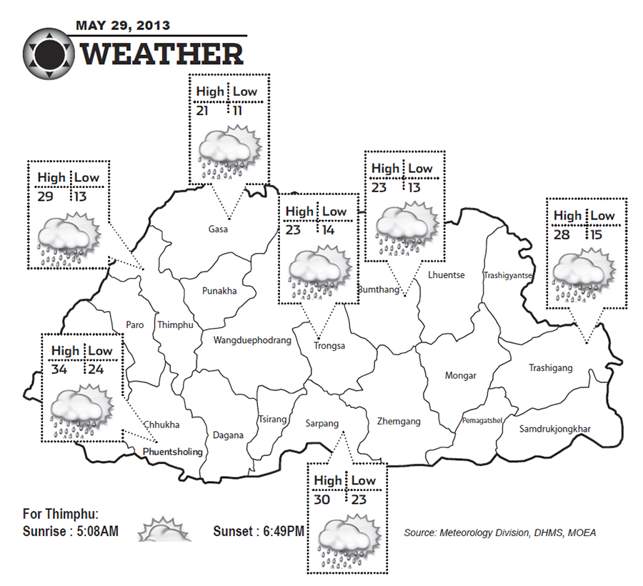 Bhutan Weather for May 29 2013
