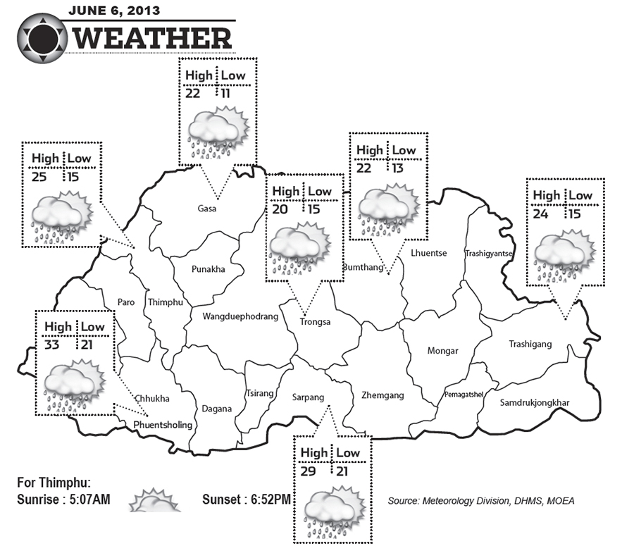Bhutan Weather for June 06 2013