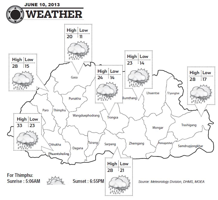 Bhutan Weather for June 10 2013