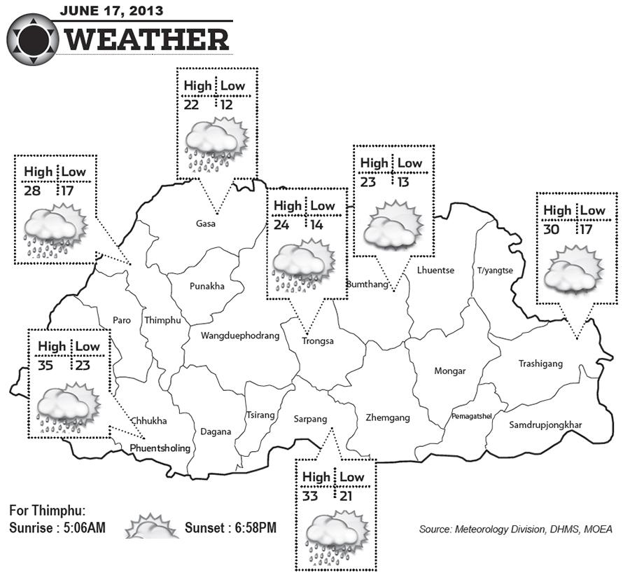 Bhutan Weather for June 17 2013