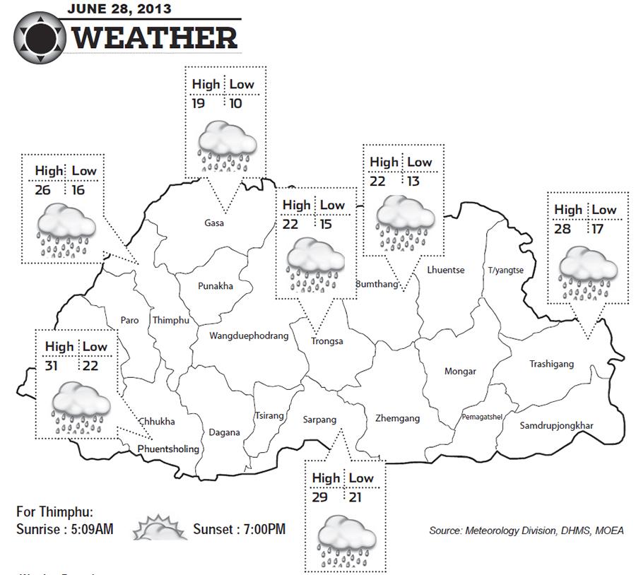 Bhutan Weather for June 28 2013