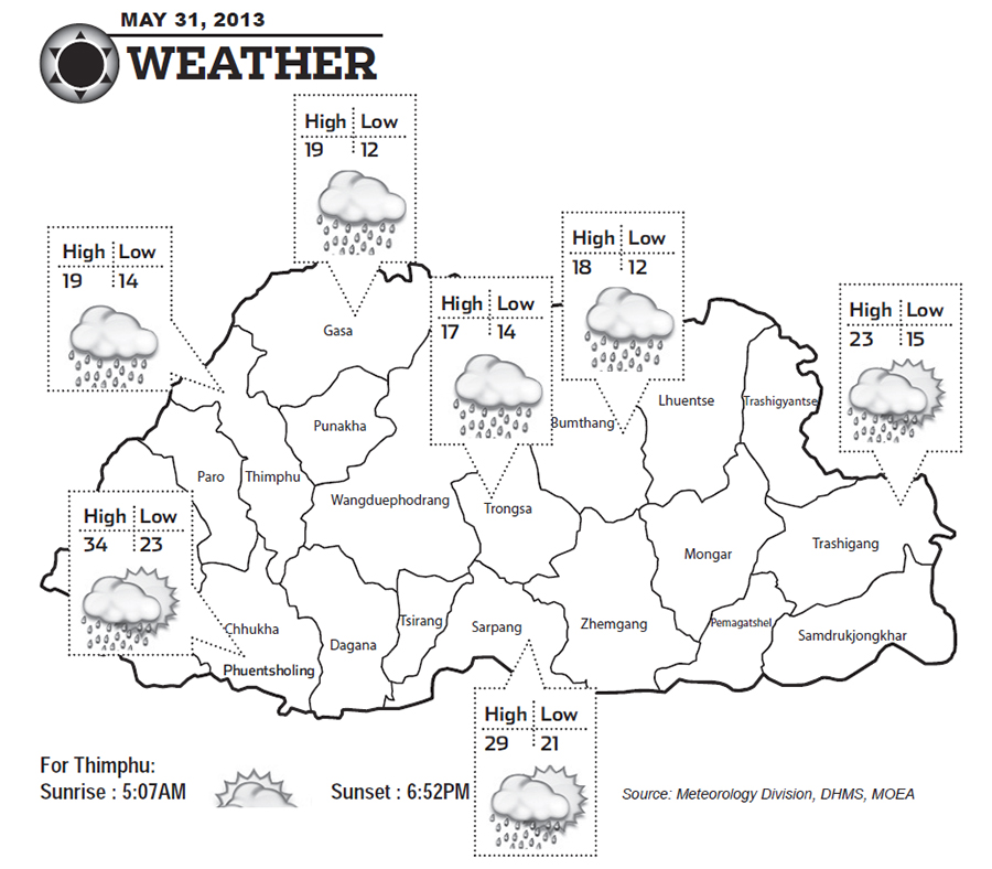 Bhutan Weather for May 31 2013