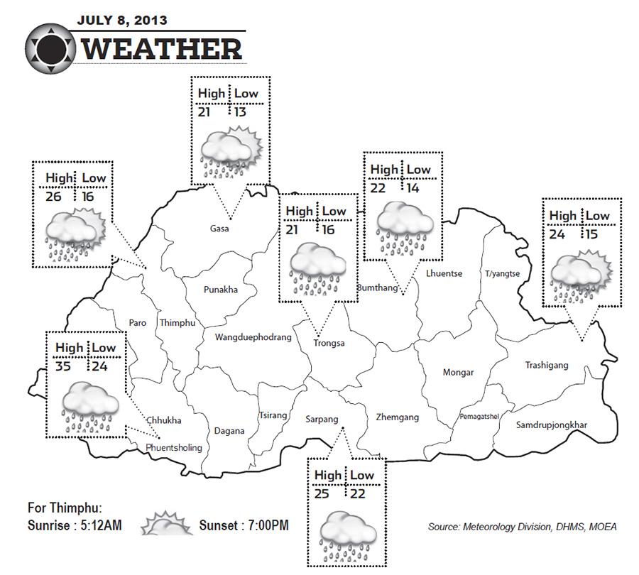 Bhutan Weather for July 08 2013
