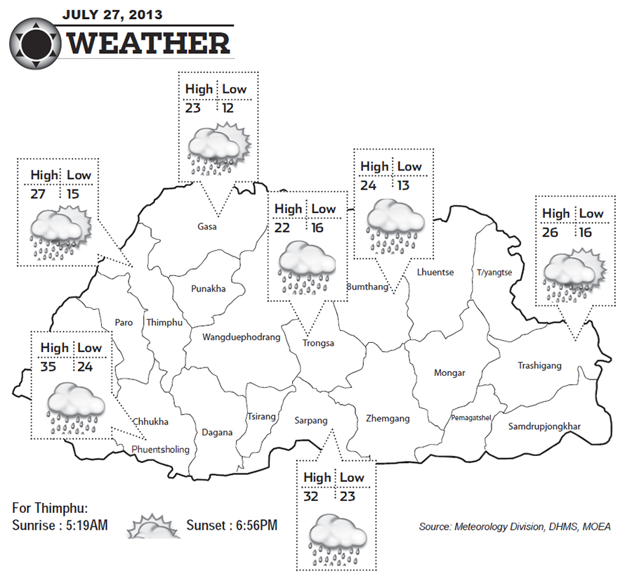 Bhutan Weather for July 27 2013