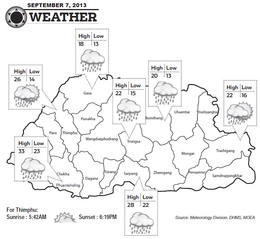 Bhutan Weather for September 07 2013