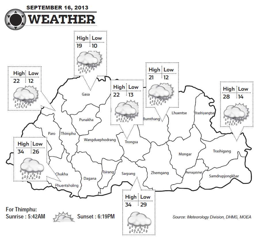 Bhutan Weather for September 16 2013
