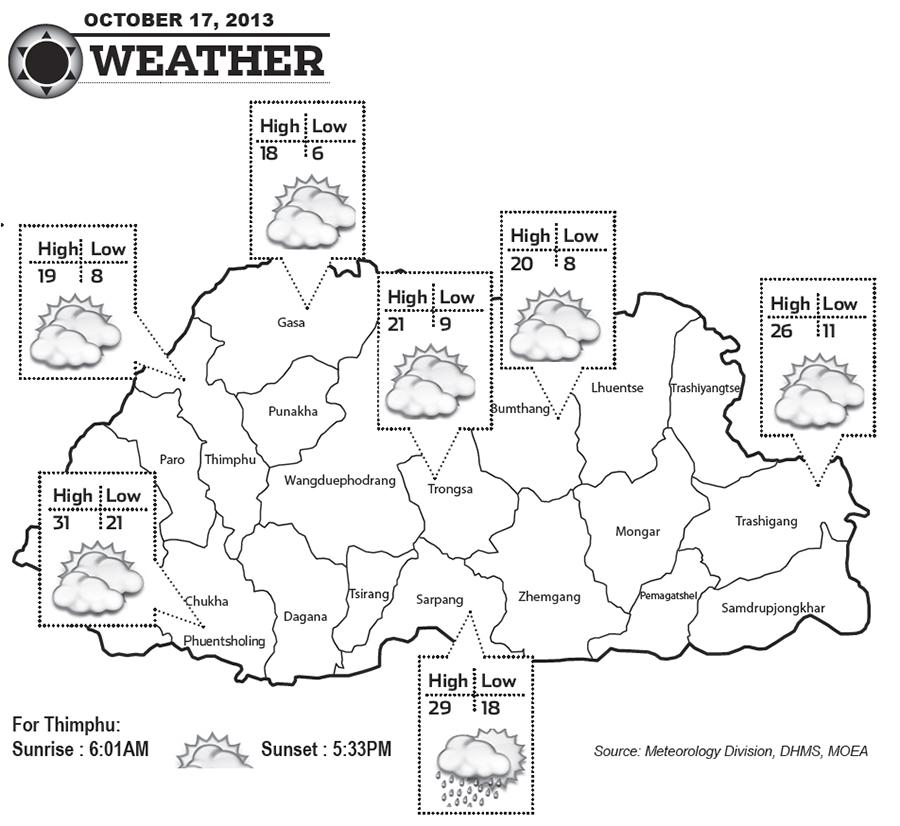 Bhutan Weather for October 17 2013