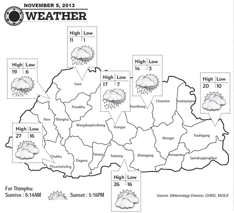 Bhutan Weather for November 05 2013