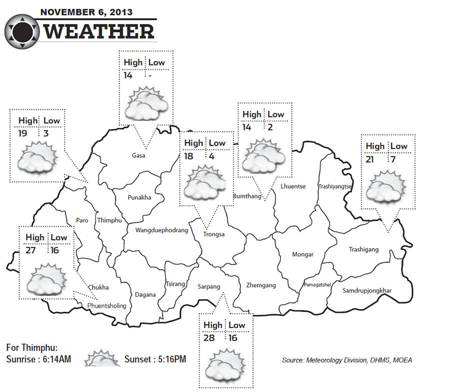 Bhutan Weather for November 06 2013