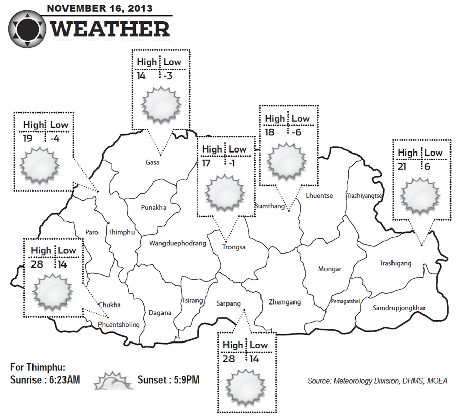 Bhutan Weather for November 16 2013