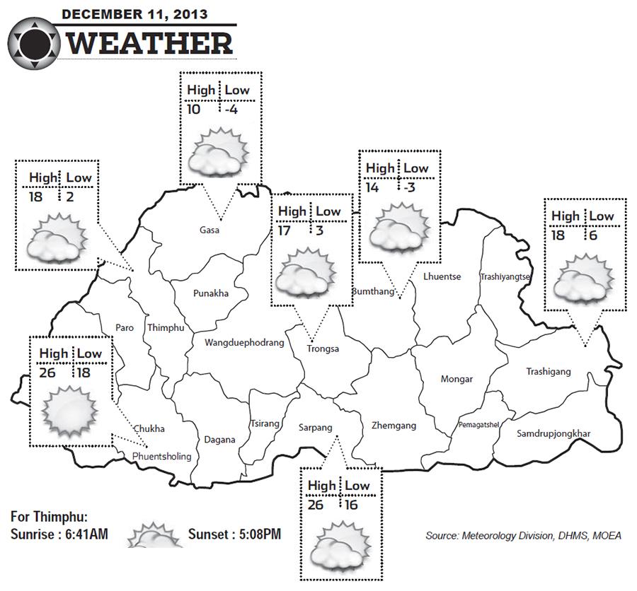 Bhutan Weather for December 11 2013