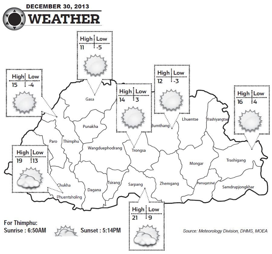 Bhutan Weather for December 30 2013